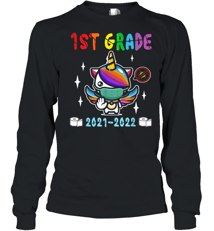 Quarantine Unicorn Hello First Grade 2020 Back to School  Long Sleeved T-shirt