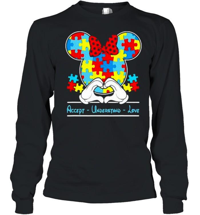 Mickey Love Heart Accept Understand Autism Awareness  Long Sleeved T-shirt