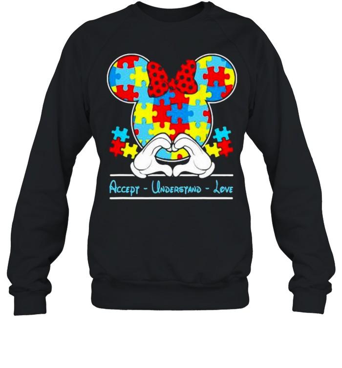 Mickey Love Heart Accept Understand Autism Awareness  Unisex Sweatshirt