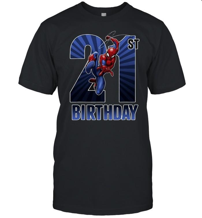 Marvel Spider-Man Swinging 21St Birthday Graphic T-shirt Classic Men's T-shirt