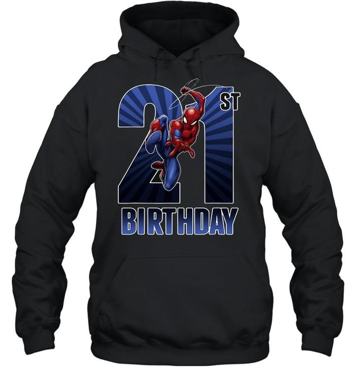 Marvel Spider-Man Swinging 21St Birthday Graphic T-shirt Unisex Hoodie