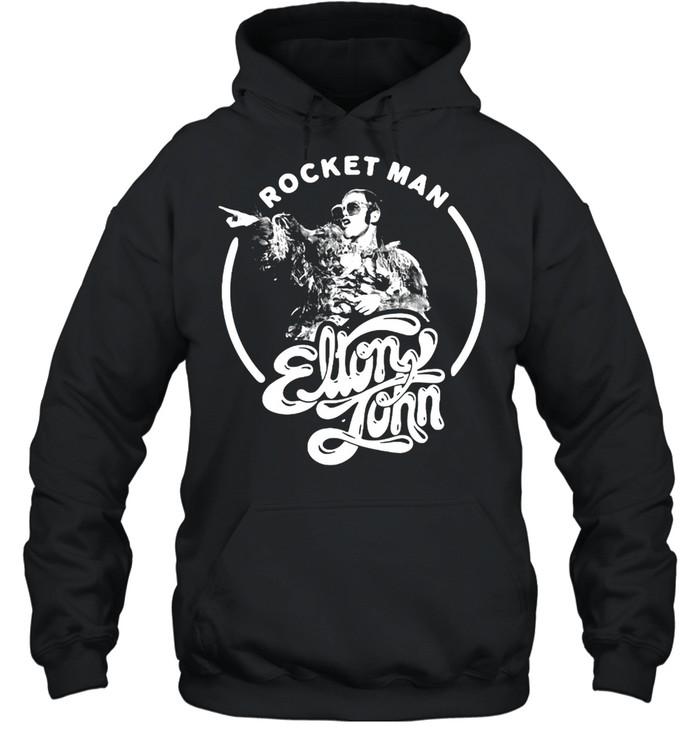 Elton John Rocket Man Point Black & White T-shirt Unisex Hoodie