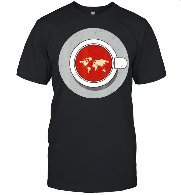 Coffee world map earth shirt Classic Men's T-shirt