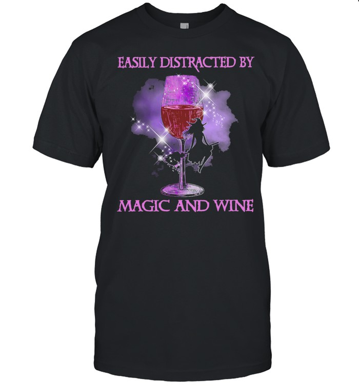 Witch easily distracted by Magic and Wine Halloween shirt Classic Men's T-shirt