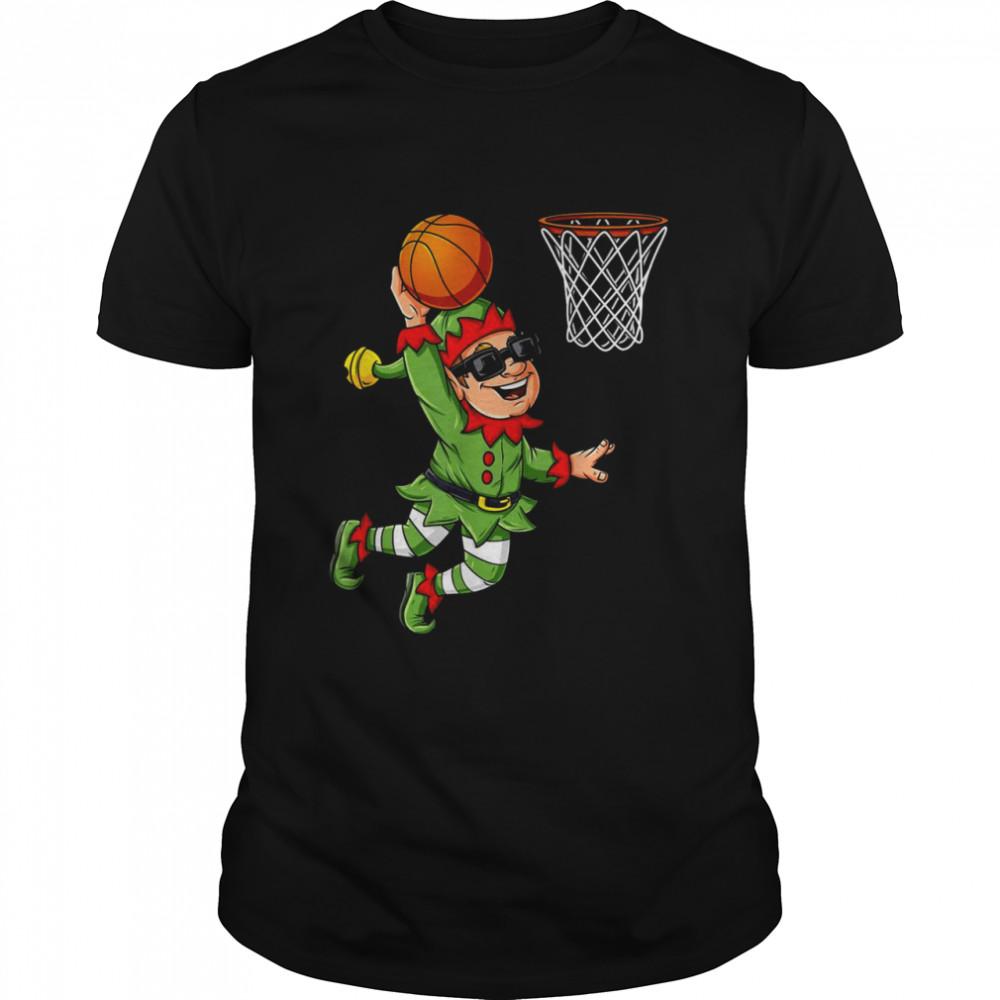 Christmas Elf Dunking A Basketball Boys Xmas shirt Classic Men's T-shirt