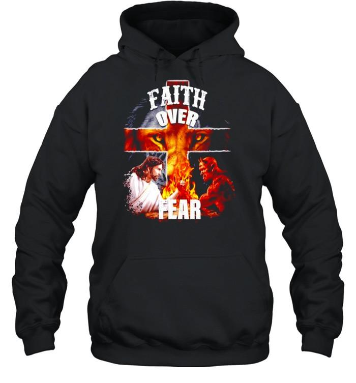 Faith over fear Jesus and Satan shirt Unisex Hoodie