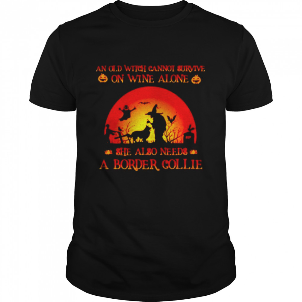 An old witch cannot survive on wine alone she also needs a border collie Halloween shirt Classic Men's T-shirt
